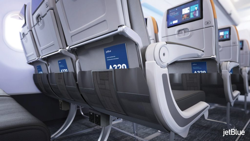 JetBlue Airbus A320 200 Restyled Interior Cabin elastic stowage device on seatback