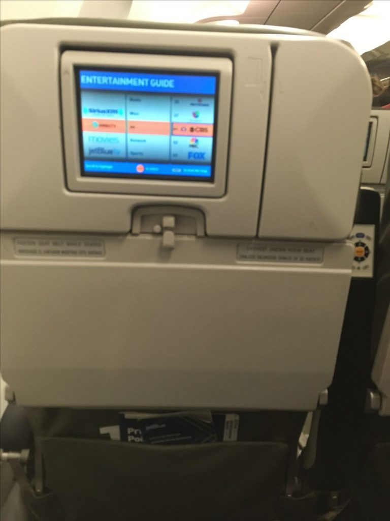 JetBlue Airways Airbus A320 200 Economy Cabin Standard Coach Seats Inflight Entertainment System IFE Screen