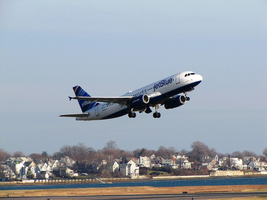 JetBlue Airways Airbus A320 200 N584JB Blue Fox takeoff General Edward Lawrence Logan International Airport