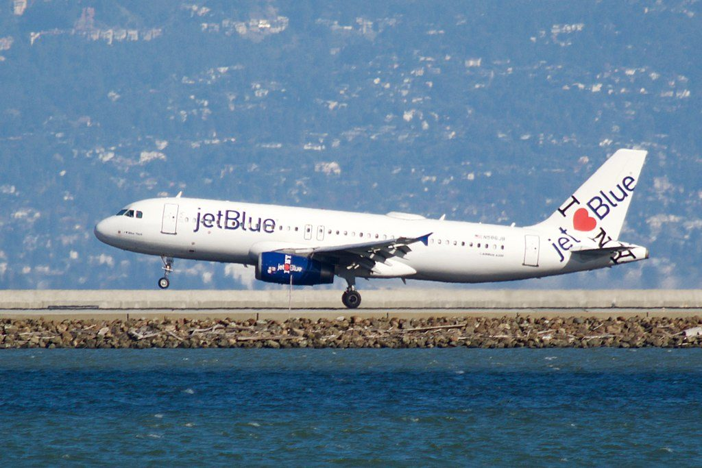 JetBlue Airways Airbus A320 200 N586JB I ♥ New York special livery at San Francisco International Airport
