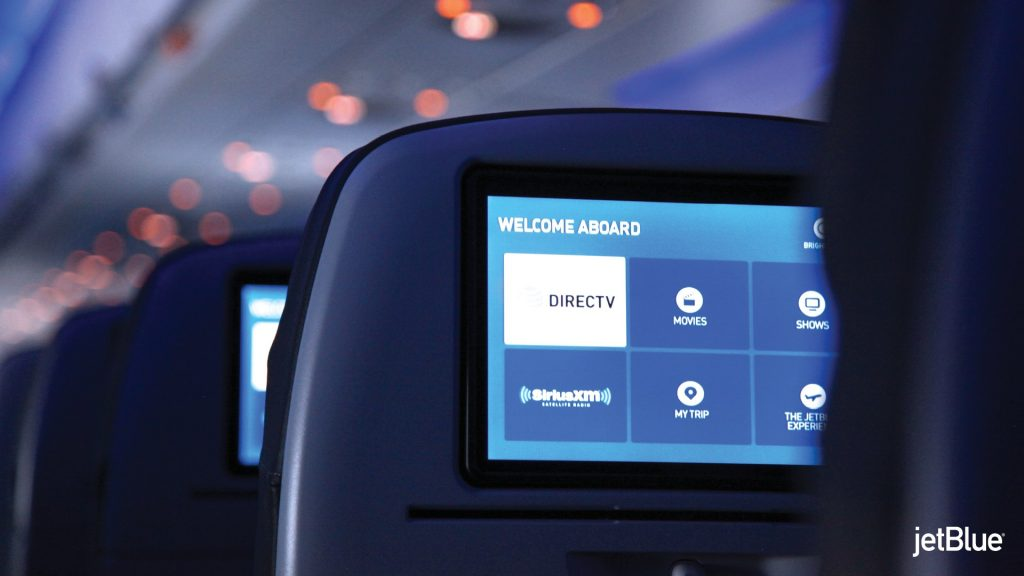 JetBlue Airways Airbus A320 200 Restyled Interior Cabin 10.1 inch seatback entertainment screen at every seat