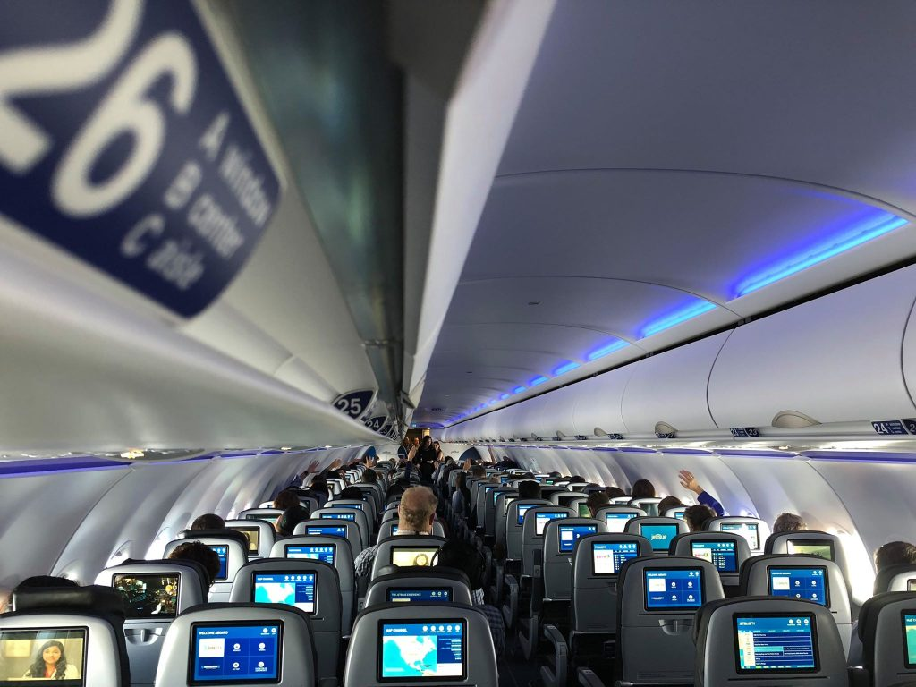 JetBlue Airways Airbus A320 200 Restyled Interior Cabin HD touchscreen displays at every seat