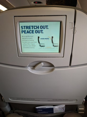 JetBlue Airways Embraer E190 E Jet Cabin inflight entertainment seat back screen with low resolution with poor color