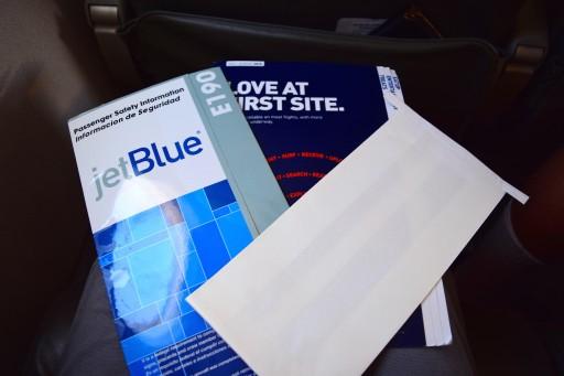 JetBlue Airways Embraer E190 E Jet Economy Cabin Seatback contents