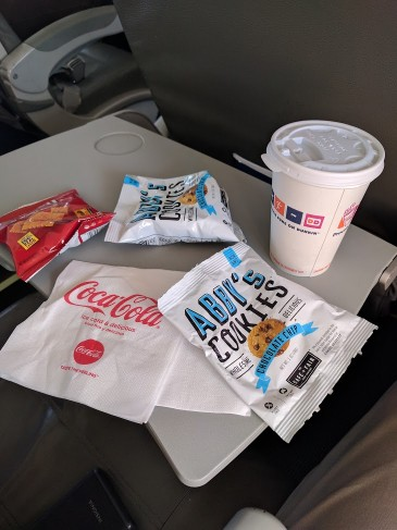 JetBlue Airways Embraer E190 E Jet Economy Cabin inflight services refill of coffee or some more snacks