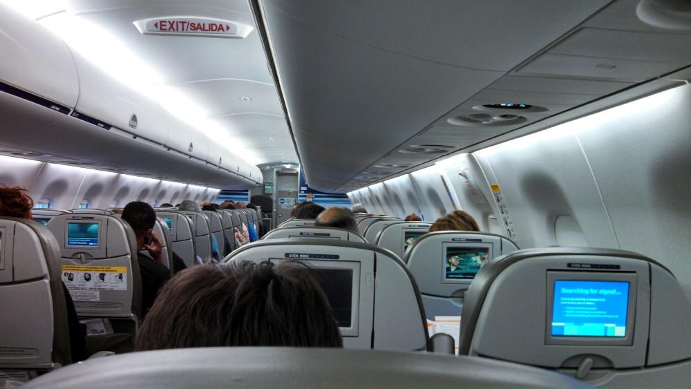 JetBlue Airways Embraer E190 E Jet Economy Class Cabin Interior view