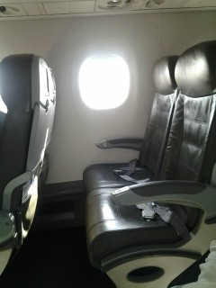 JetBlue Airways Embraer E190 E Jet Economy Class seats with lots of legroom