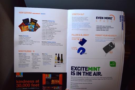 JetBlue Airways Embraer E190 E Jet In flight service guide and BOB menu 2