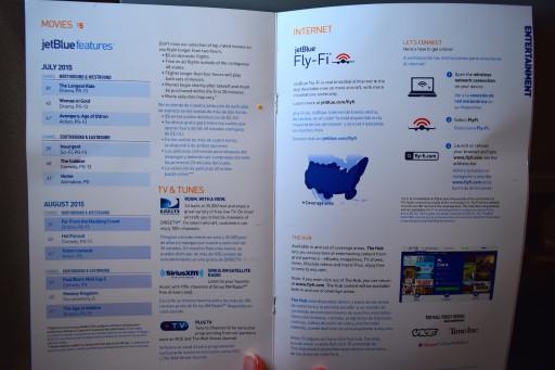 JetBlue Airways Embraer E190 E Jet In flight service guide and BOB menu 6