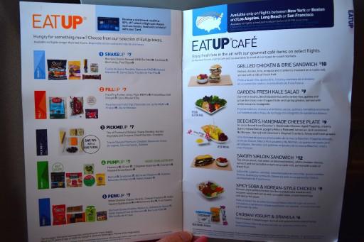 JetBlue Airways Embraer E190 E Jet In flight service guide and BOB menu 7