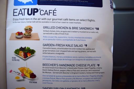 JetBlue Airways Embraer E190 E Jet In flight service guide and BOB menu 8