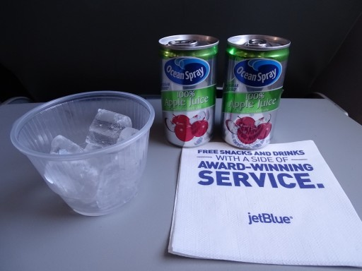 JetBlue Airways Embraer E190 E Jet Inflight Drink Orders Services Apple Juice