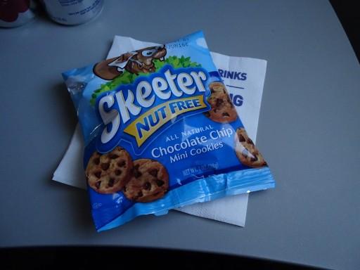 JetBlue Airways Embraer E190 E Jet Inflight snack basket Services bag of Skeeters