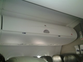 JetBlue Airways Embraer E190 E Jet Overhead bins in the last two rows are used for emergency equipment only