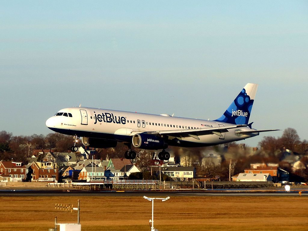 JetBlue Airways N566JB Blue Suede Shoes Airbus A320 200 at General Edward Lawrence Logan International Airport