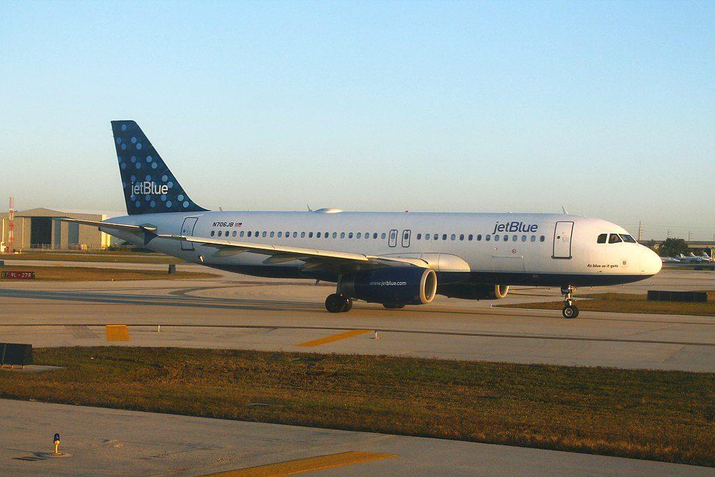 JetBlue Airways N706JB As blue as it gets Airbus A320 200 On FLLs Runway 9L27R now 10L28R preparing for take off
