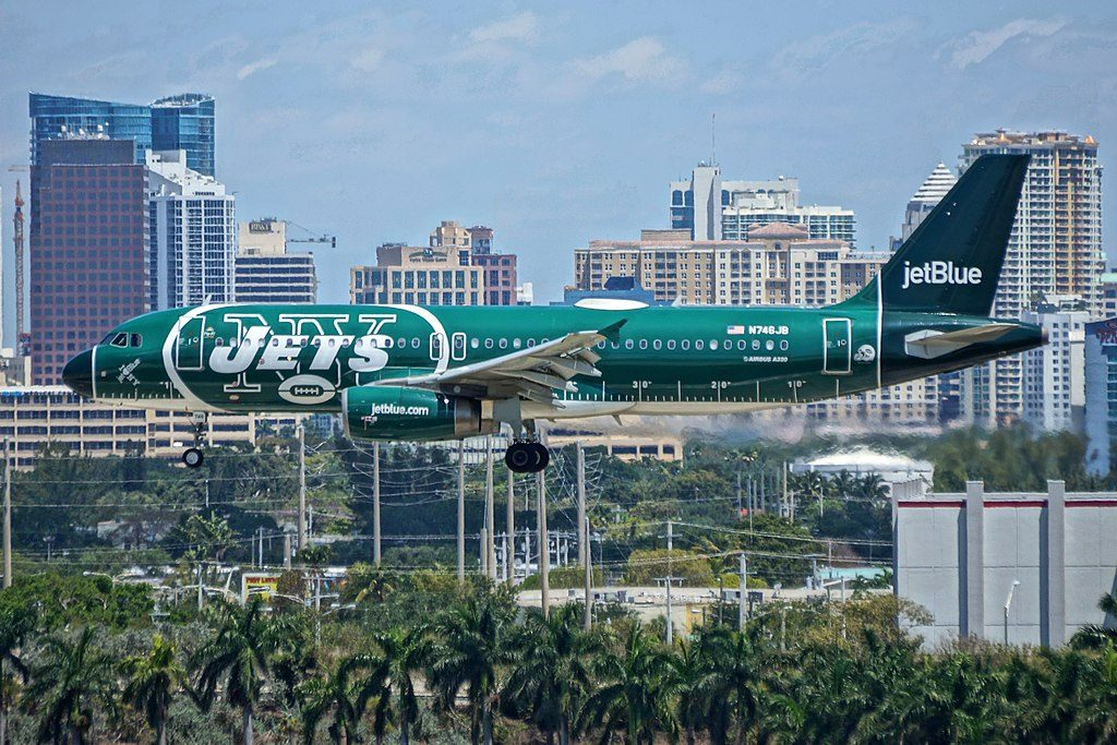 JetBlue Airways N746JB New York Jets Livery Some Like it Blue Airbus A320 200 at Fort Lauderdale Hollywood International Airport