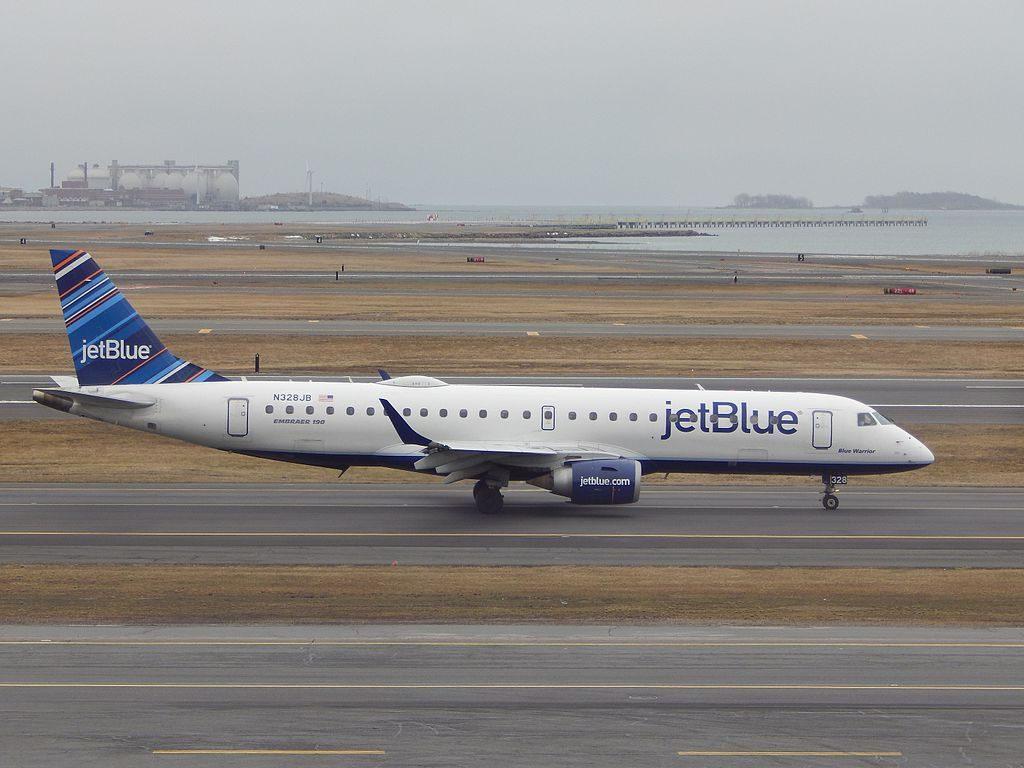 JetBlue Airways Regional Jet Embraer ERJ190 N328JB Blue Warrior at Logan International Airport
