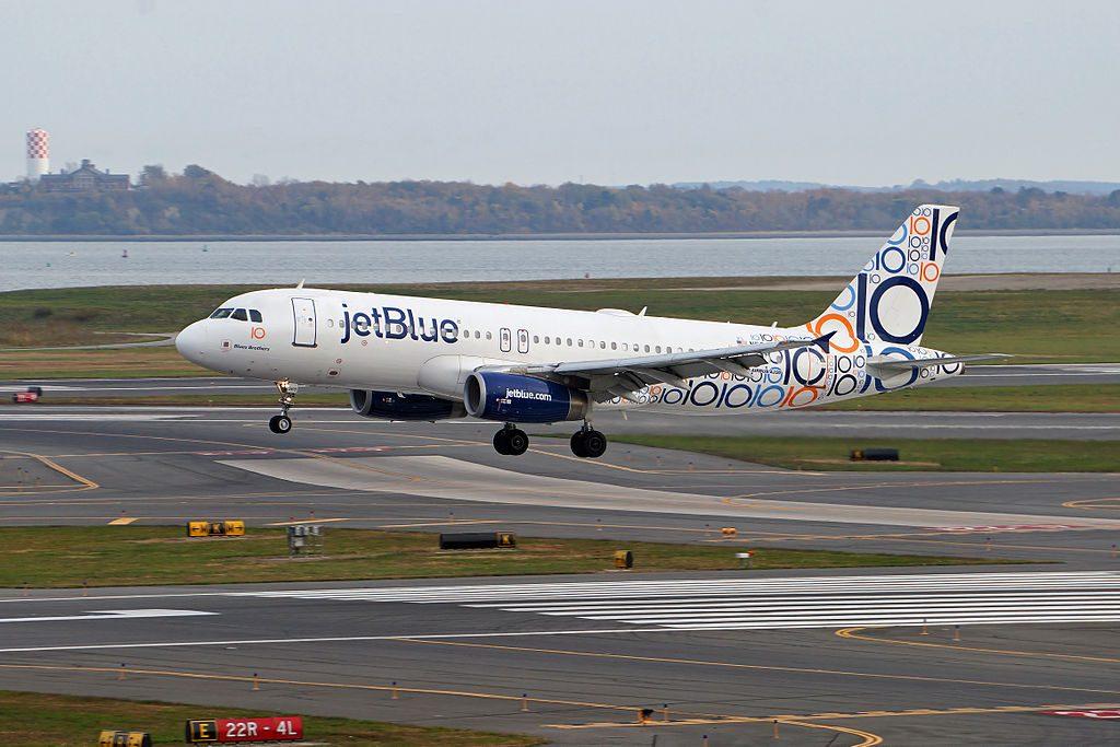 JetBlues 10th anniversary plane Blues Brothers Airbus A320 232 N521NK lands at Logan International Airport Boston Massachusetts USA