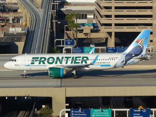 N309FR Airbus A320Neo Frontier Airlines Fleet Weston The Woodpecker livery colors at Phoenix Sky Harbor International Airport 1