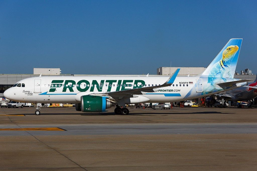 N310FR Airbus A320neo Frontier Airlines Sunny the Collared Lizard narrow body aicraft