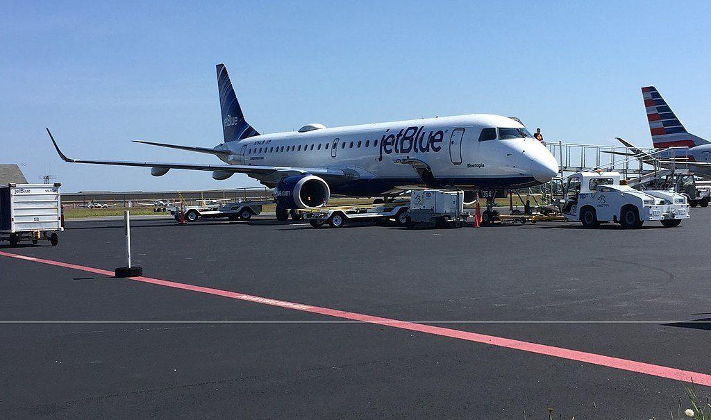 N354JB JetBlue Airways Embraer ERJ 190 100 Bluetopia parked on the tarmac at Nantucket Regional Airport KACK