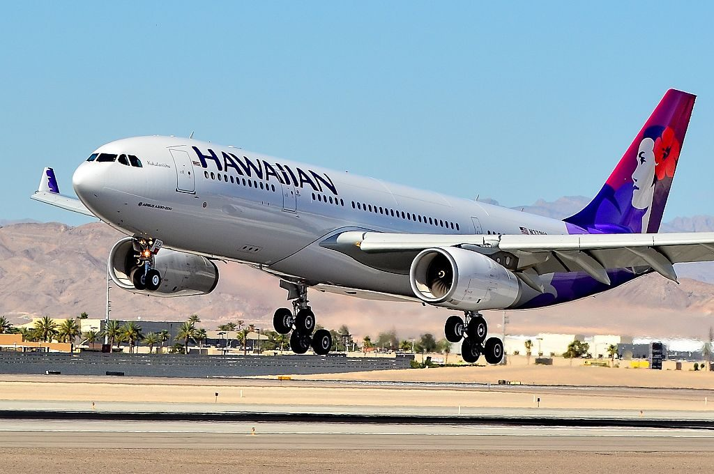 N373HA Hawaiian Airlines Fleet 2014 Airbus A330 243 cn 1530 Kūkalaniehu landing and takeoff at Las Vegas McCarran International Airport LAS KLAS USA Nevada