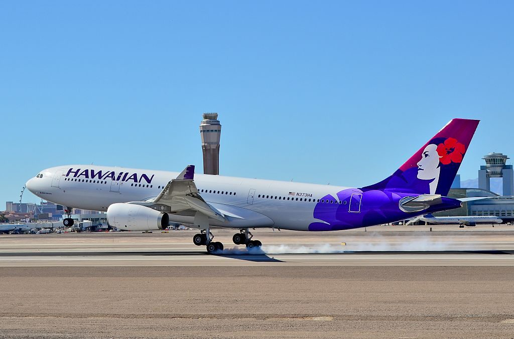 N373HA Hawaiian Airlines Fleet 2014 Airbus A330 243 cn 1530 Kūkalaniehu smoky landing at Las Vegas McCarran International Airport LAS KLAS USA Nevada