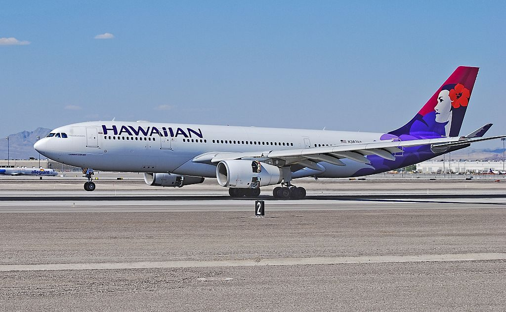 N383HA Hawaiian Airlines Fleet Airbus A330 243 cn 1217 22Hanaiakamalama22 landing with reverse thrust engines at McCarran International Airport KLAS Las Vegas Nevada