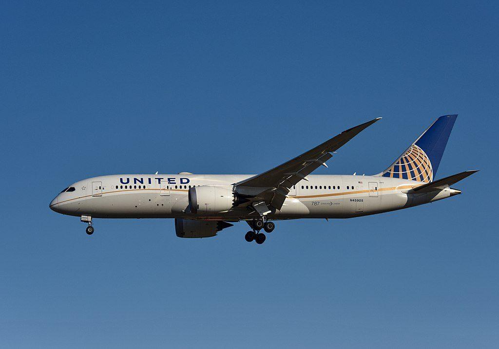 N45905 United Airlines Aircraft Fleet Boeing 787 8 Dreamliner cnserial number 3482555 on final approach at Beijing Capital International Airport IATA PEK ICAO ZBAA