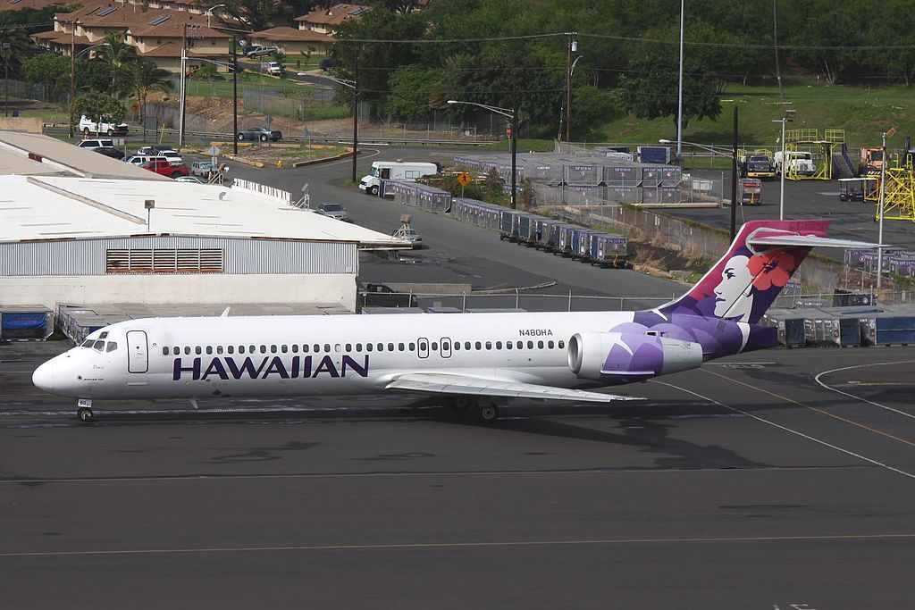N480HA Pueo B717 22A Hawaiian Airlines Aircraft Fleet taxiing at Honolulu International Airport