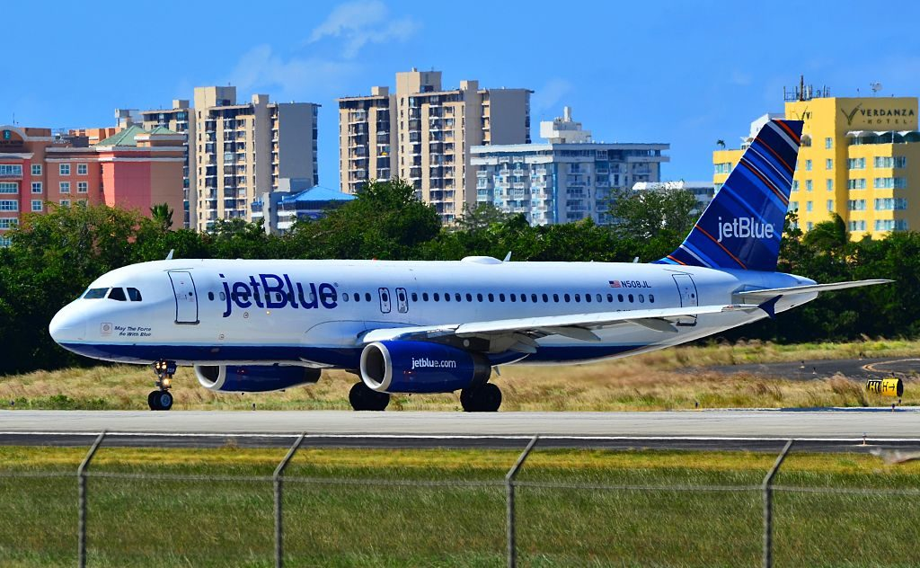 N508JL JetBlue Airways Airbus A320 232 CN 1257 May The Force Be With Blue at San Juan Luis Munoz Marin International SJU TJSJ Puerto Rico
