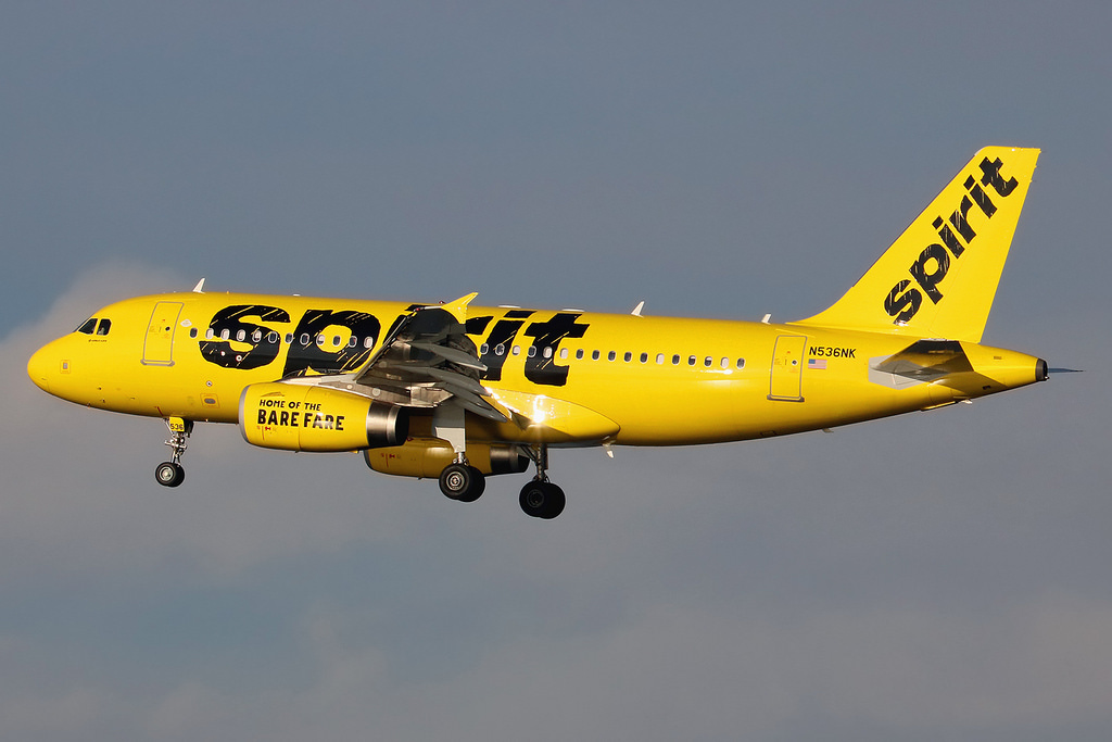 N536NK Airbus A319 133 Spirit Airlines on final approach at New York La Guardia LGA
