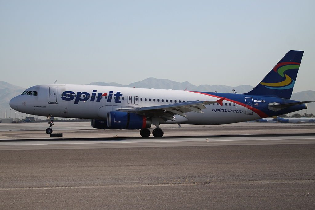 N604NK Spirit Airlines Airbus A320 232 landing at Las Vegas McCarran International Airport