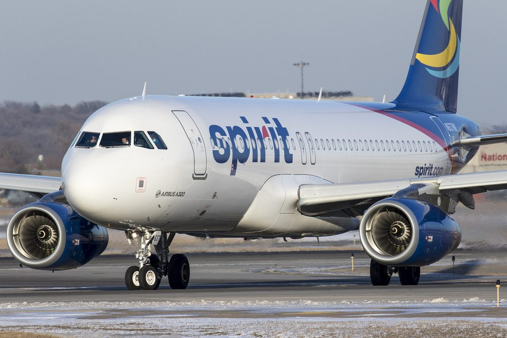 N637NK Spirit Airlines Airbus A320 200 taxiing at Minneapolis–Saint Paul International Airport