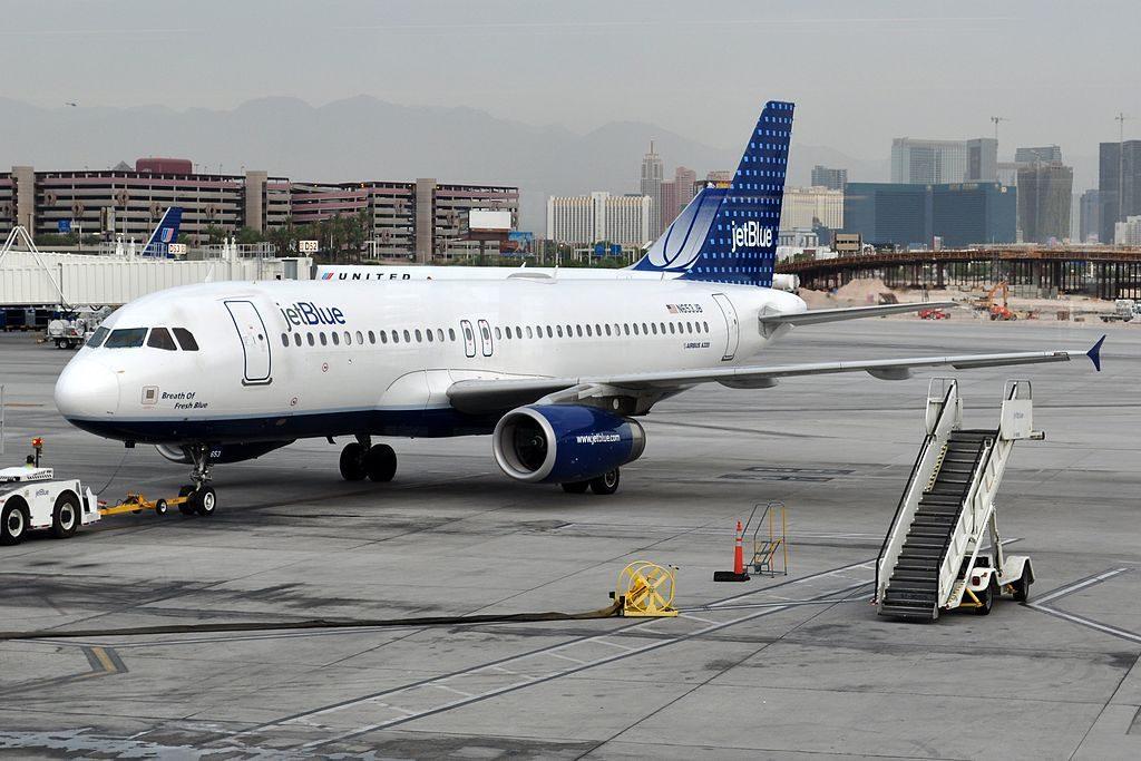 N653JB JetBlue Airways Breath of Fresh Blue Airbus A320 200 pushed back at McCarran International Airport
