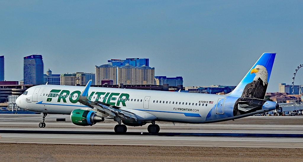 N709FR Frontier Airlines Airbus A321 200 Steve the Eagle landing at McCarran International LAS KLAS USA