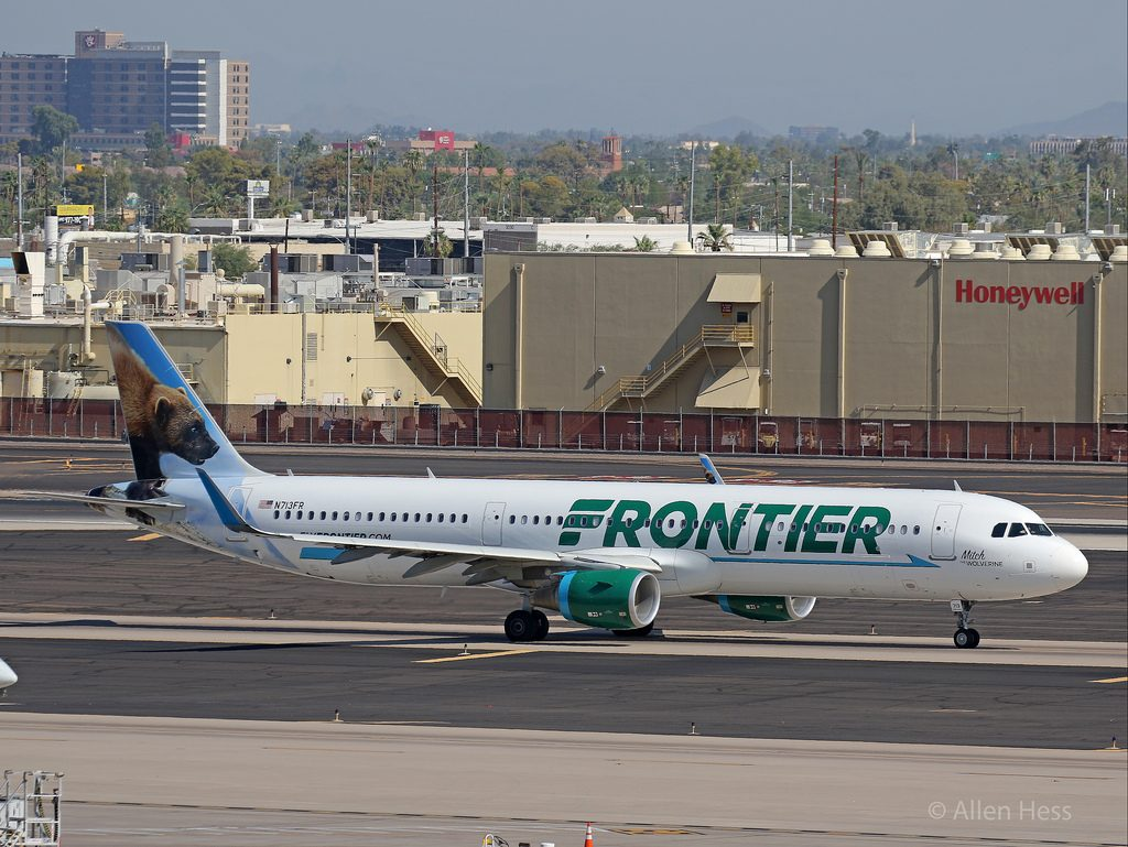 N713FR Frontier Airlines Aircraft Fleet Airbus A321 200 Mitch the Wolverine @AllenHess