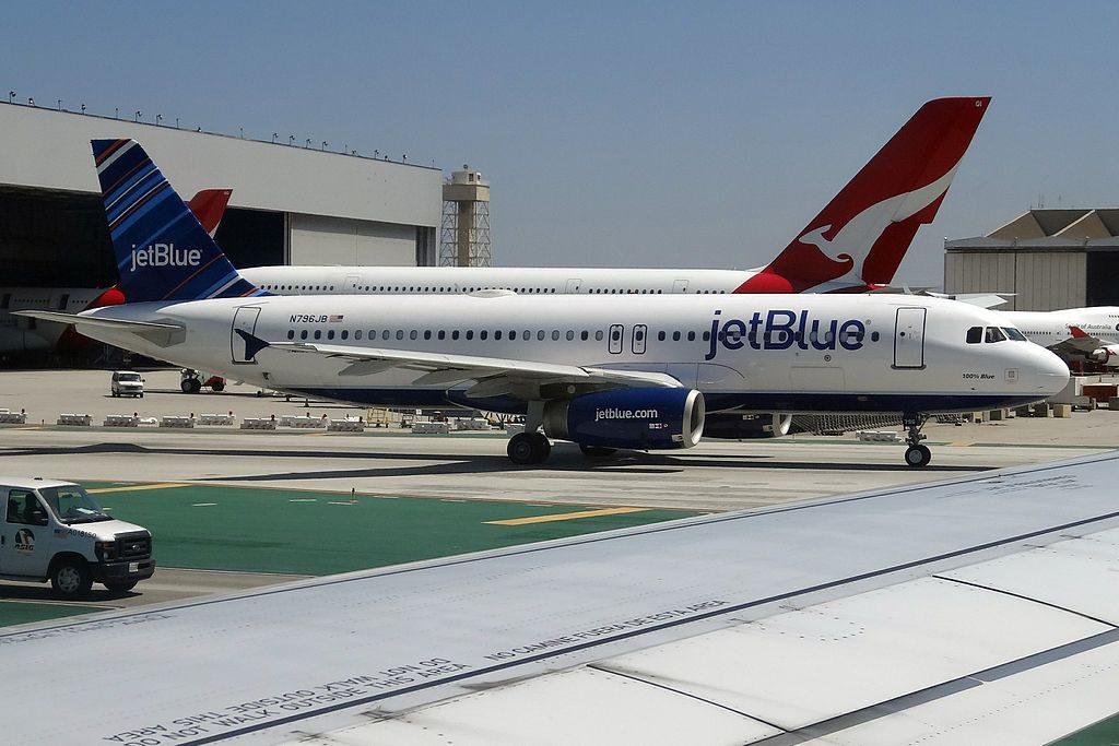 N796JB JetBlue Airways 100 Blue Airbus A320 200 at LAX Los Angeles International Airport