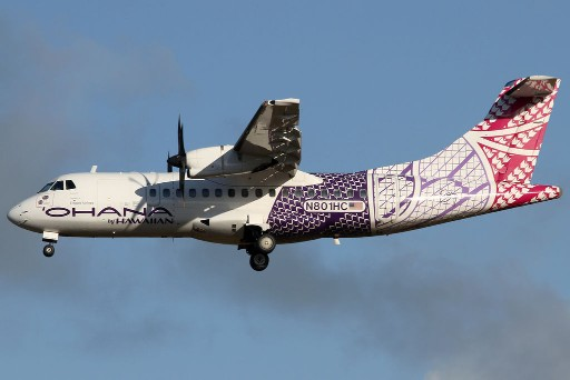 N801HC Ohana by Hawaiian ATR 42 500 on finals at Kahului Airport