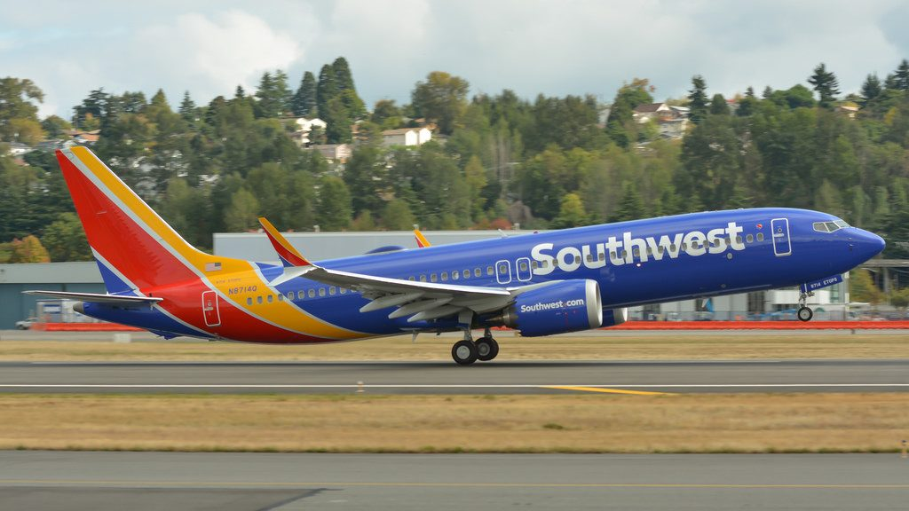 N8714Q Southwest Airlines Boeing 737 MAX 8 landing and takeoff at Boeing Field King County International Airport