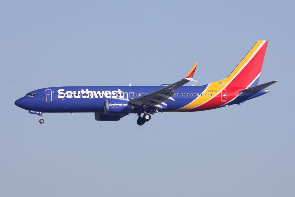 N8715Q Southwest Airlines Aircraft Fleet Boeing 737 Max 8 on final approach at DallasFort Worth International Airport