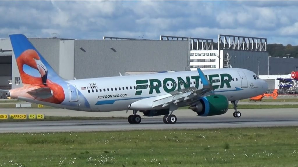 New Airbus A320NEO for FRONTIER Airlines N308FR Flo the Flamingo Livery landing at Airbus Plant Hamburg