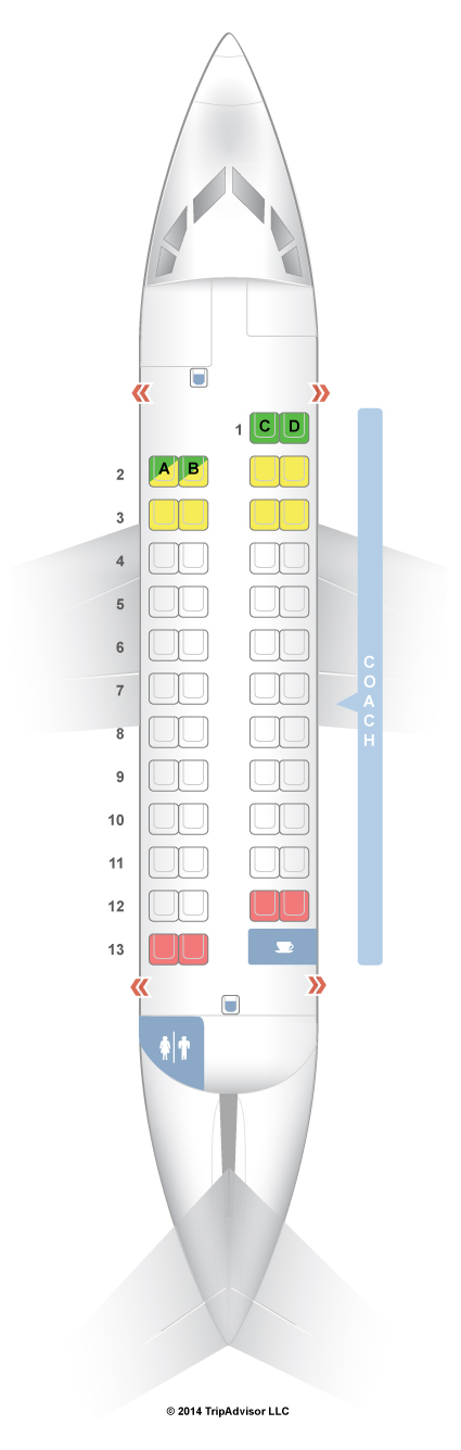 Ohana by Hawaiian ATR 42 500 Seat map and Seating chart