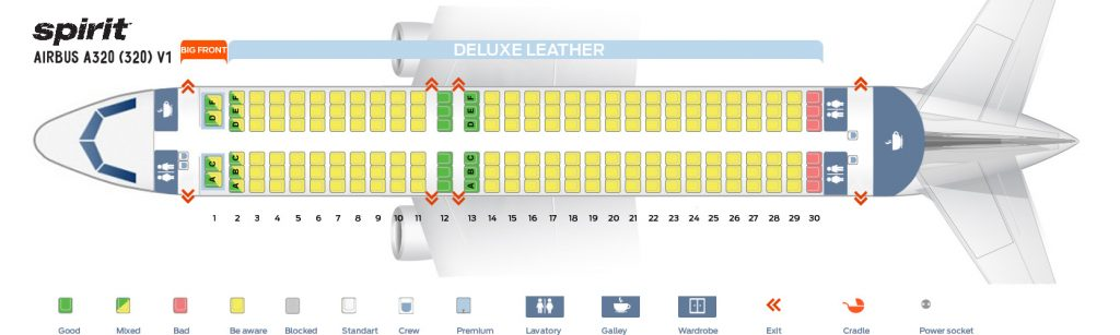 Seat Map and Seating Chart Airbus A320 200 Spirit Airlines First Cabin Version