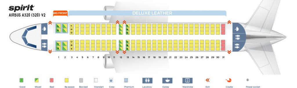Seat Map and Seating Chart Airbus A320 200 Spirit Airlines Second Cabin Version