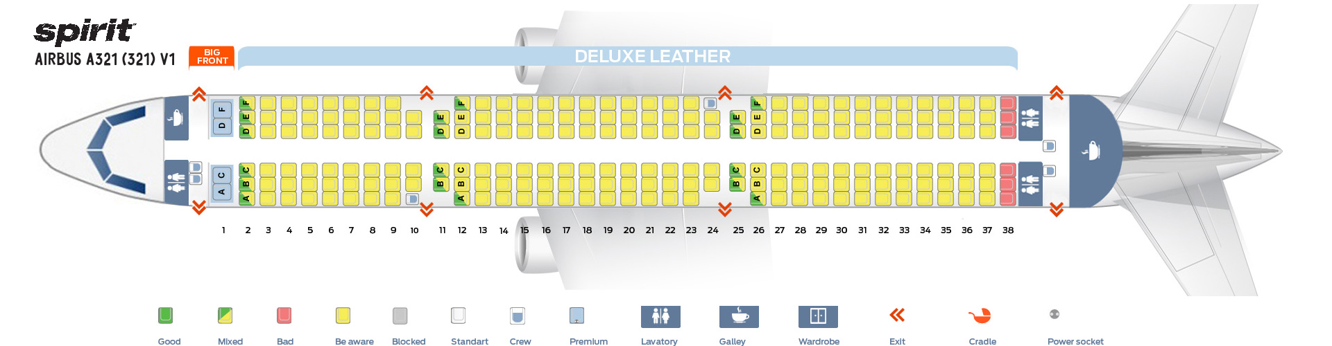 Seat Map and Seating Chart Airbus A321 200 Spirit Airlines V1