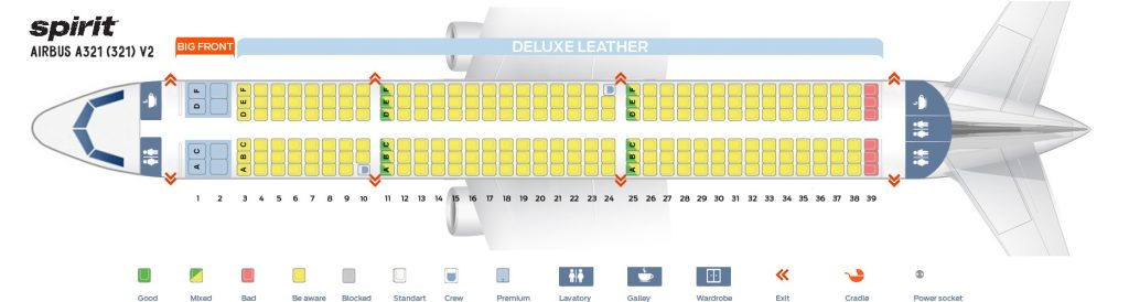 Seat Map and Seating Chart Airbus A321 200 Spirit Airlines V2