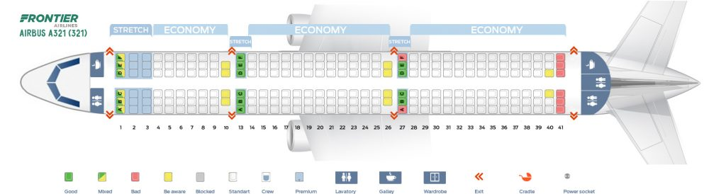 Seat Map and Seating Chart Frontier Airlines Airbus A321 200 321