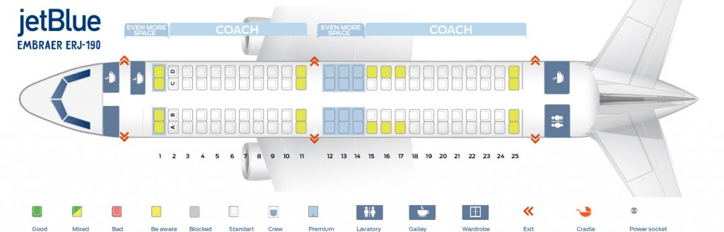 Seat Map and Seating Chart of JetBlue Airways Embraer ERJ 190 E90